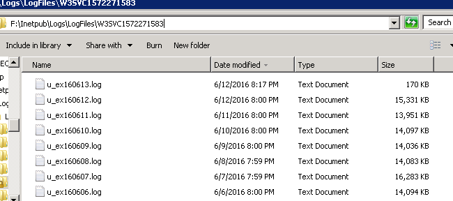 Log files in F drive