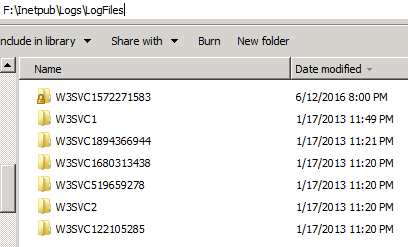 Log File Folders in F Drive