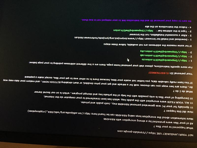 Screen with ransomware threat