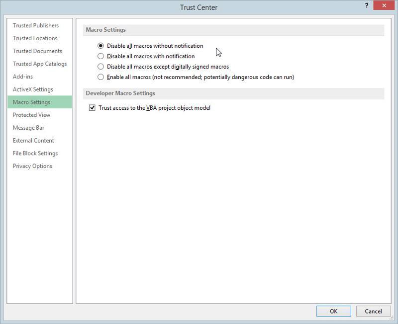 MS-Excel 2013 Trust Center Macro Settings