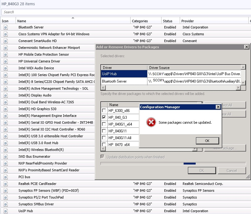 SCCM cant add drivers to driver package