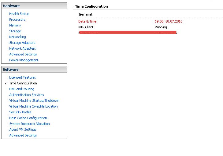 vSphere client time settings