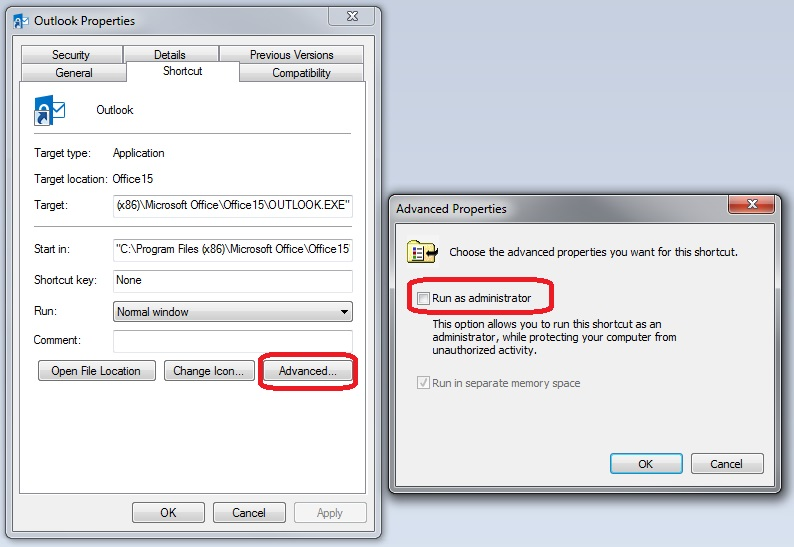Outlook Shortcut Properties