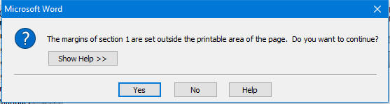 Word printing error message