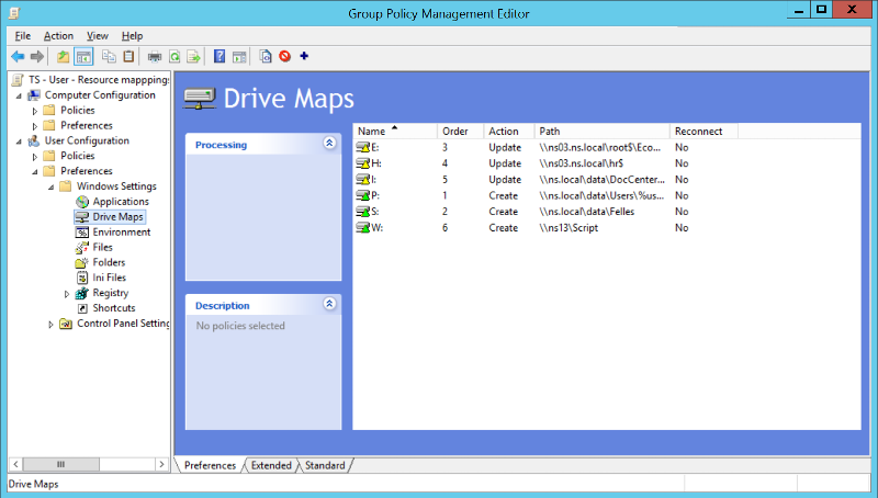 Group Policy Drive Maps