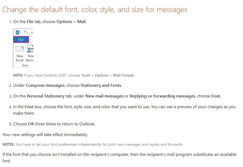 default font instructions...