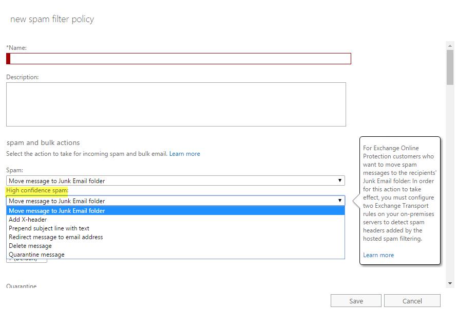How do I whitelist domains in Office 365 Exchange Admin Center?