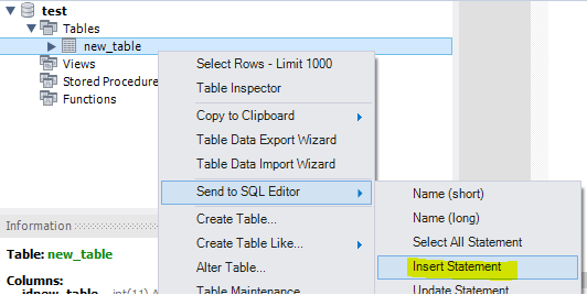 Letting MySQL Workbench create an insert statement for you