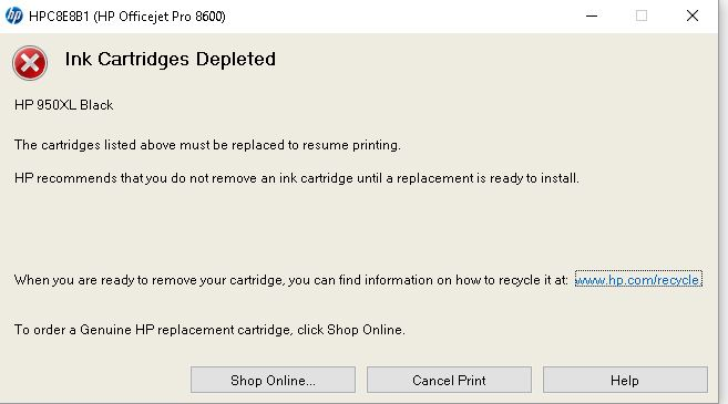 Hp Printer Error Depleted Cartridge