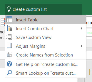 Create Custom List from Tell me...