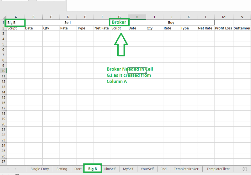 If Sheet Created from column A Name then Print Broker in Cell G1