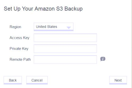 The Access Key and Private keys are from the AWS user I create but what remote path do I enter?
