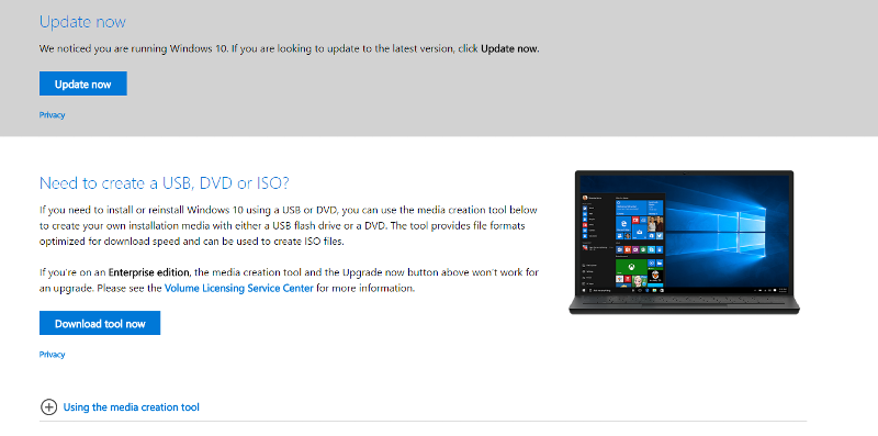 Screenshot of Windows 10 update page