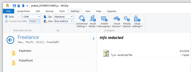 Adding Folder to WinZip Favorites