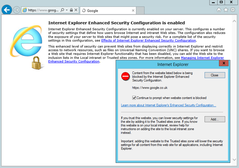 Internet Explorer Enhanced Security Config