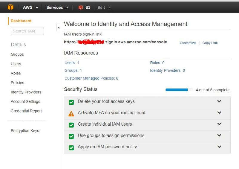 Do I use the IAM users sign-in link for WD MyCloud? Also Notice My security status, I have activated most all requirements.