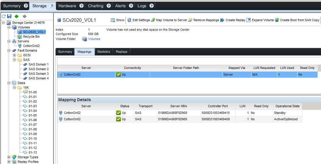Why the DELL storage volumes not appearing in Vmware host?