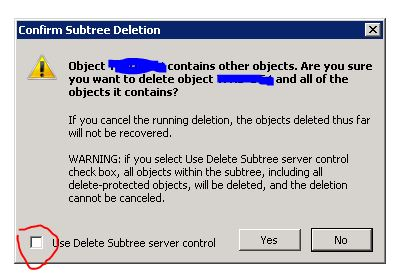 confirm subtree deletion - metadata cleanup windows 2008