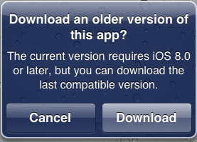 download older version of app
