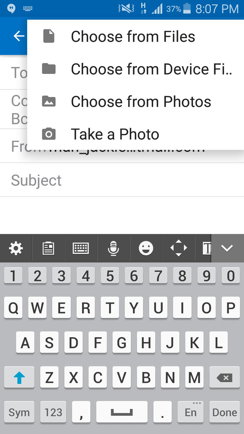 compose email add attachment