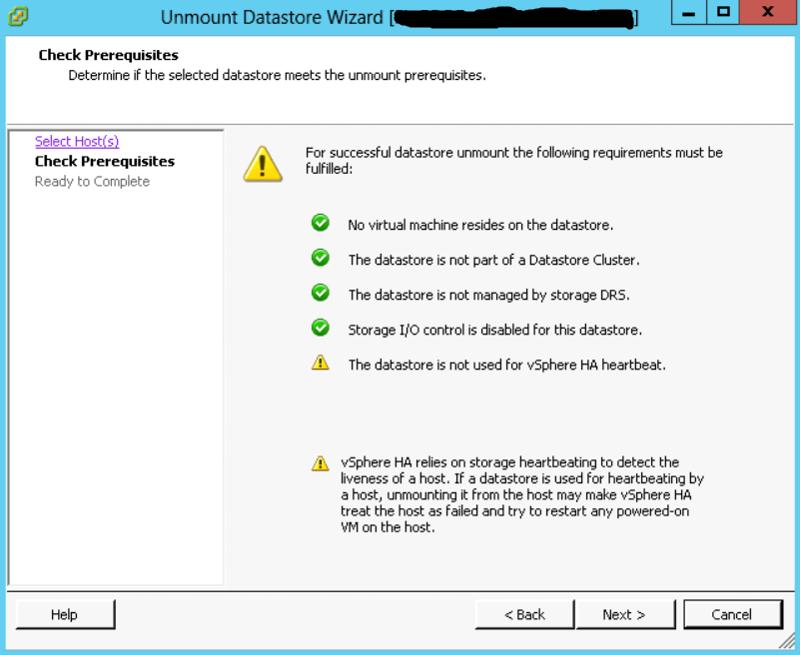 Datastore Unmount Error