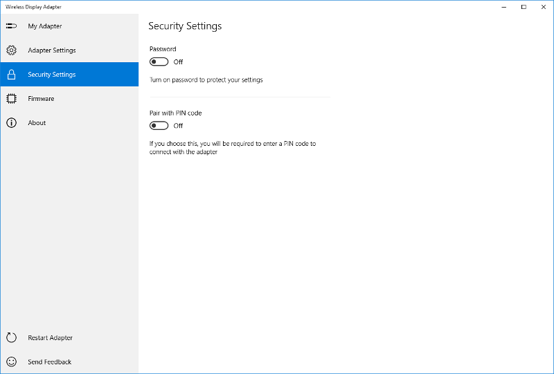 security settings tab