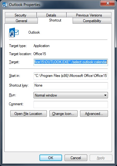 Screenshot of shortcut properties