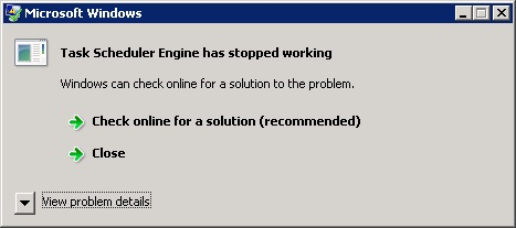 Scheduler error message when logged on.
