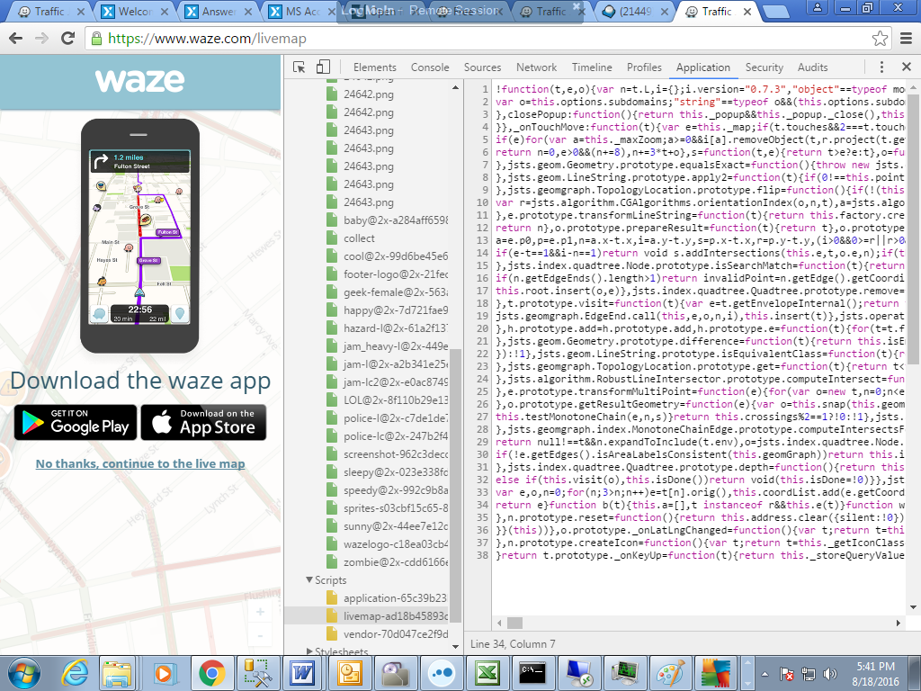 how to open Waze com/livemap from address saved in DB?