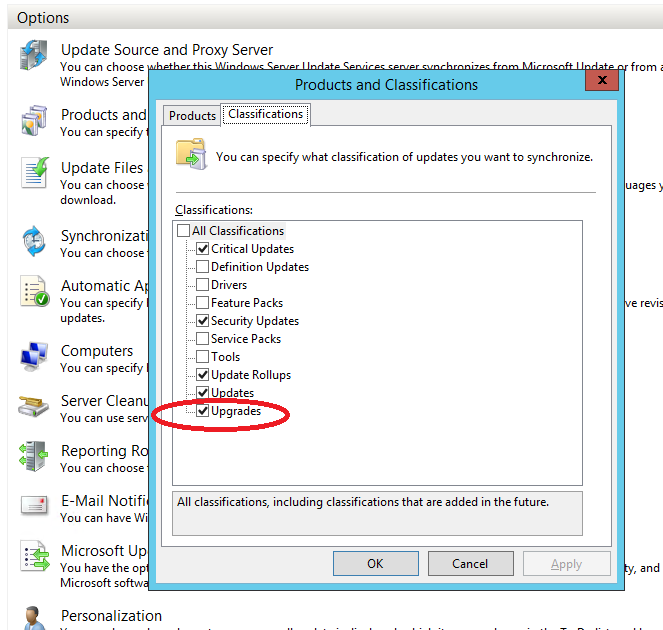 WSUS options with upgrades enabled.