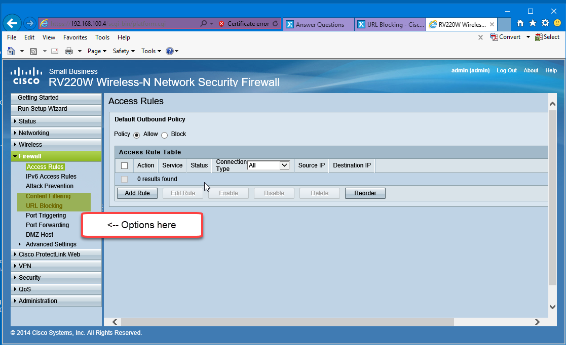 url blocking cisco rv130w rh experts exchange com