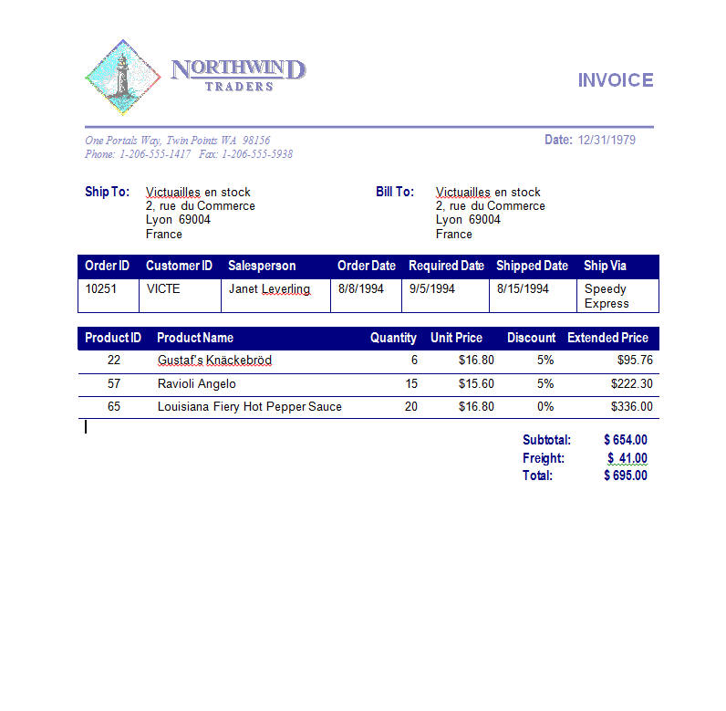 Northwind invoice