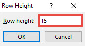row height value