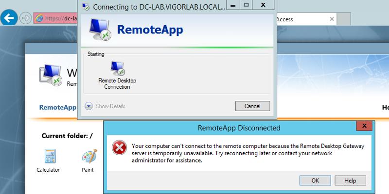 error remote app