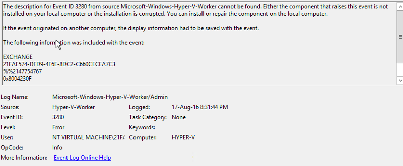 event log on Hyper-v