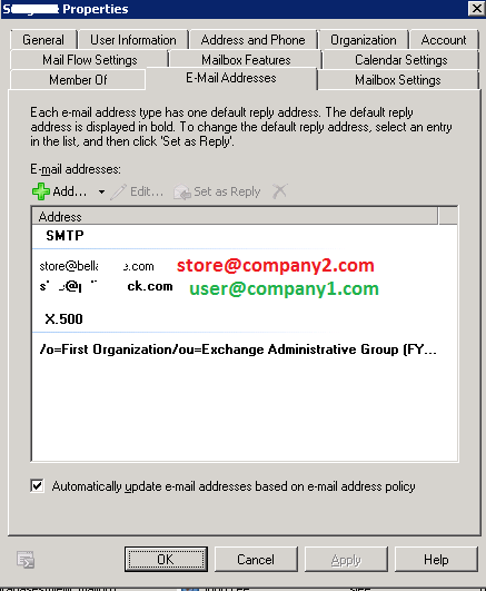 Store@Company2.com added to existing user.