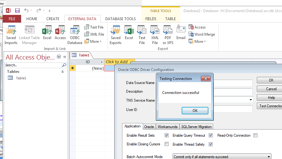 Error when connecting to oracle 11g via access 2013