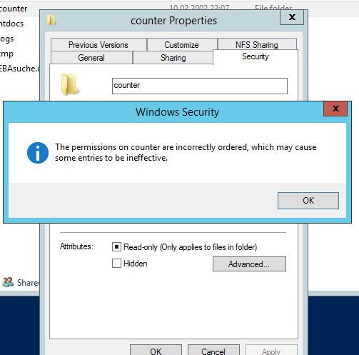 ACL and windows server 2012 R2 NFS and file sharing