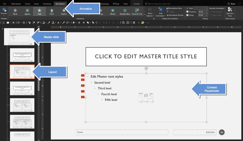 screenshot of master view
