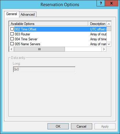 DHCP Reservation Options (Server 2012 R2)