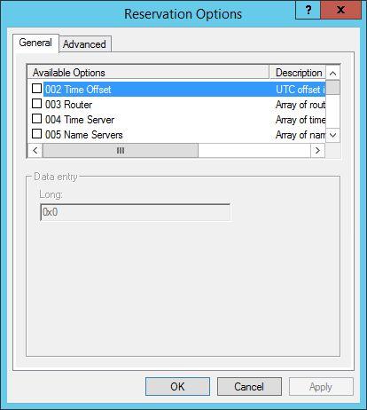 DHCP Reservation Options (Server 2012 R2)