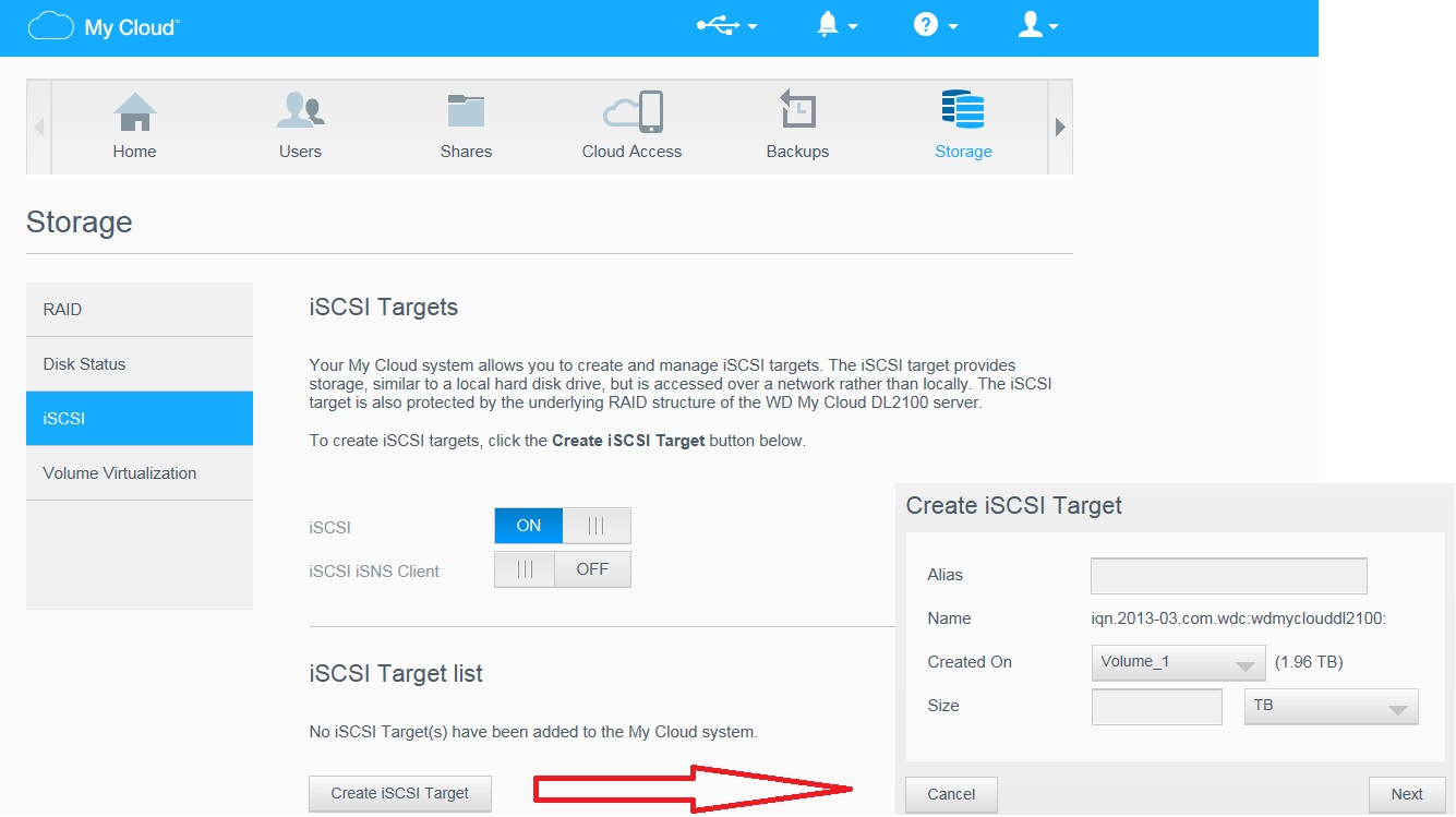 Create and connect an ISCSI Target on vSphere using WD My Cloud DL2100