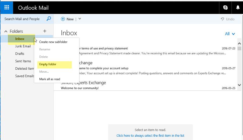 Hotmail-Folders