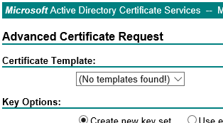 Empty Certificate Template list