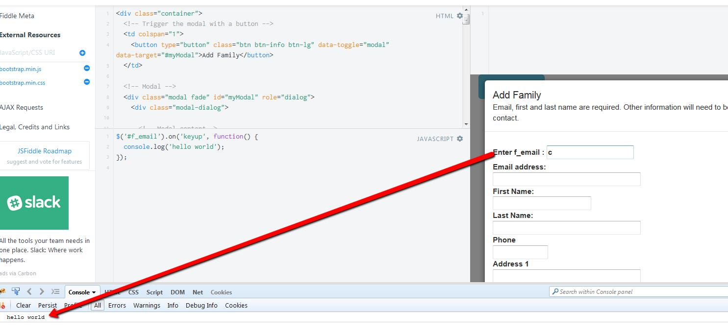 jquery inside Bootstrap modal