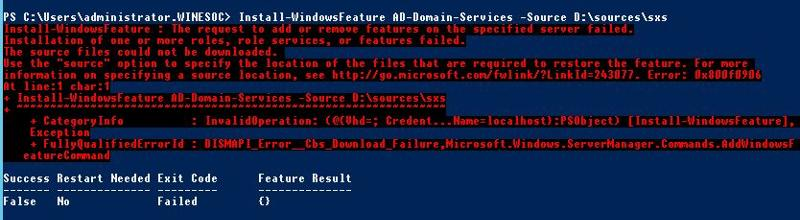 install as-domain-services failure message