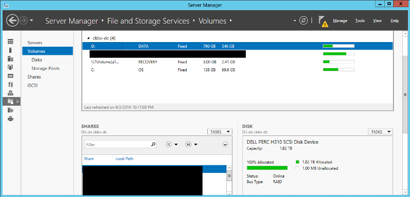 Screen shot of Server 2012 Volume Manager