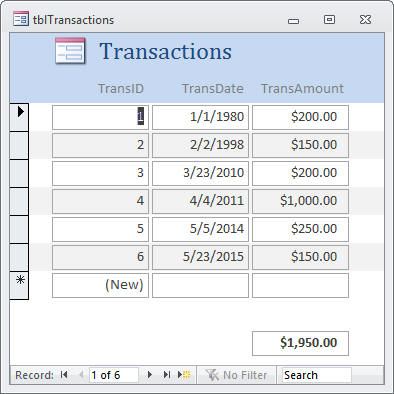 Transactions form