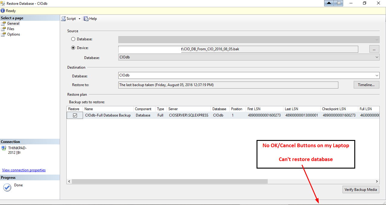 Sql Management Studio 2012 Restore Database No Ok Button