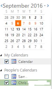 OWA co-workers' calendars